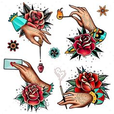 Old school tattoo roses and hands set traditional tattoo prints, traditiona Traditional Tattoo Prints, Traditional Rose Tattoos, Traditional Roses, Traditional Tattoo Flash, American Traditional Rose, Rosa Old School, Old School Rose, Old School Tattoo Rose, Old School Tattoos