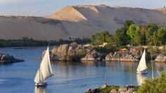Felucca sailboats on River Nile.