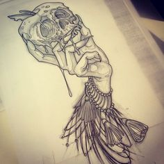 Image result for witch holding a skull tattoo