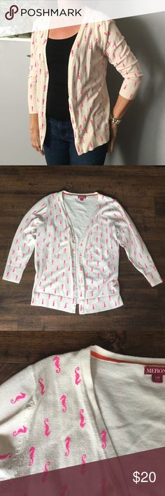 Seahorse Cardigan K Cute cream cardigan with neon pink seahorse print. Good condition. Size Large. My mom is modeling and she normally wears a small. Merona Sweaters Cardigans