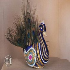 Home Wedding Decorations, Marriage Decoration, Wedding Crafts, Wedding Art, Coconut Decoration, Diya Decoration Ideas, Peacock Decor, Candle Holder Decor, Wedding Plates