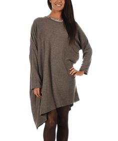 Gray Taupe Slant-Hem Shift Dress