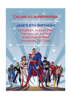 Justice League Birthday Invitation by PinkChicInvitations on Etsy, $9.99