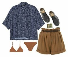 A fashion look from February 2018 featuring button down blouse, flannel shorts and lingerie bikinis. Browse and shop related looks. Cool Outfits, Summer Outfits, Casual Outfits, Fashion Outfits, Womens Fashion, Vintage Outfits, Vintage Fashion, Mein Style, Streetwear