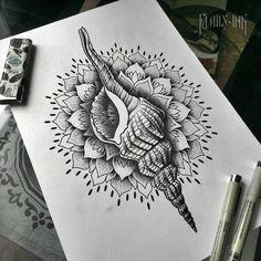 Shells tattoosketch by Family Ink #dotworktattoo #familyink #mandala #ornamentaltattoo