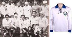 1930 - O Brasil estreou na primeira Copa do Mundo com uma camisa branca que tinha amarração por cordões. O distintivo ainda era da CBD (Confederação Brasileira de Desportos) Reprodução/Divulgação. In Bol 06/12/2013.