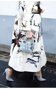 Printed coat, white coat with abstract print