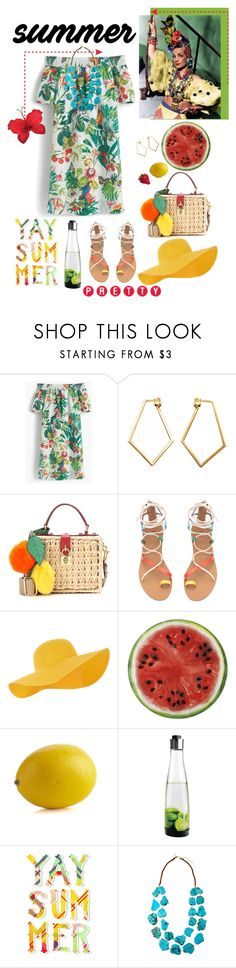 """""""Carmen tribute"""" by mkanzee ❤ liked on Polyvore featuring J.Crew, Dutch Basics, Dolce&Gabbana, Accessorize, Round Towel Co., Crate and Barrel, Vagnbys Design & Living, WALL, Panacea and carmenmiranda"""