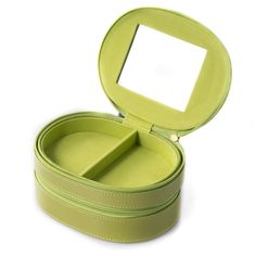 Lime (Green) Leather Two Level Jewelry Case w/ Mirror & Zipper Closures Jewelry Case, Jewelry Box, Fine Jewelry, Jewellery Boxes, Jewellery Storage, Discount Tools, Bead Storage, Diy Drawers, Burgundy Nails