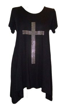 Short Sleeve Gothic Studded Cross Long Asymmetric Summer Top in Three Classic Colours