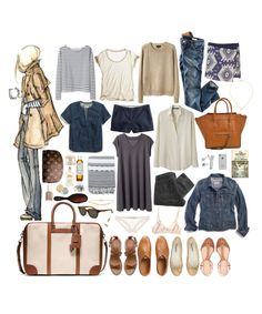 week long trip #01 by coffeestainedcashmere on Polyvore featuring polyvore fashion style Alexander Yamaguchi Les Prairies de Paris Wood Wood Madewell Calypso St. Barth H&M Zara A.P.C. J.Crew Mimi Holliday by Damaris Laura Urbinati Dieppa Restrepo Repetto CÉLINE Dogeared Gorjana Ray-Ban Coach Maison Margiela Burt's Bees American Apparel Kiehl's Essie women's clothing women's fashion women female woman misses juniors
