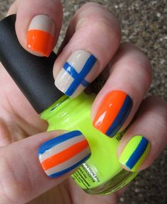 My newest set! I love this pattern!  Neon and Neutral Nautical Flags Nail Art Set  Hand by EmineeGoods, $16.00 nails-by-me