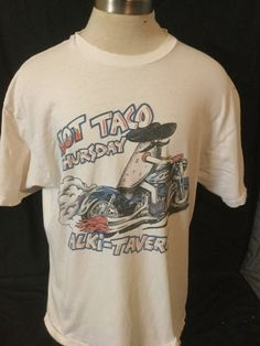 Vintage 1989  Harley Davidson Hot Taco Thursday Cartoon Motorcycle Size X-Large T-Shirt Made in USA by 413productions on Etsy