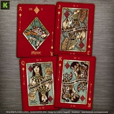 REQUIEM - custom playing cards deck printed by USPCC- A dark deck with red-blood background with illustrated courts, jokers and aces.   Diamonds: Ace (Maeror), Jack (Repudiatio), Queen (Exspectatio), King (Desperatio)