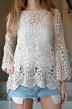 crochet blouse, crochet clothing, organic clothing, short d Mode Crochet, Crochet Cardigan, Crochet Lace, Crochet Tops, Crochet Woman, Knit Fashion, Fashion Art, Knitwear Fashion, Handmade Clothes