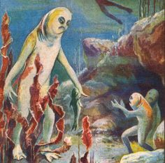Lucien Rudaux was best known for his science/astronomy illustrations. Hybrid Art, Fish Man, Science Fiction Art, Pulp Art, Sci Fi Art, Geek Culture, French Artists, Dark Fantasy, Macabre