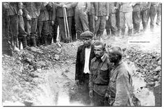 These are rare images of the German brutality in Russia. Shown above are innocent Russian farmers, shot without mercy.