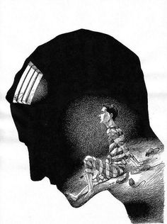 This picture portrays eating disorder by showing a prison cell with a TRAPPED prisoner unable to escape but is staring at light and FREEDOM so close but out of reach. The silhouette is STOOPED in a forlorn manner.