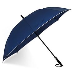 UK Golf Gear - Windproof Golf Umbrella Oversize 62 inch Canopy with Safe Reflective Stripe Outdoor Rain and Big Wind Resistant Waterproof Stick Brolly Automatic Open Extra Large Straight Umbrellas for Men&Women (Navy Blue) #golfumbrella