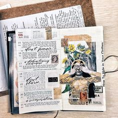 Central image in the collage is a detail from Laureana Toledo's photography, circa Scrapbook Journal, Journal Layout, Art Journal Pages, Art Journals, Bullet Art, Bullet Journal Inspo, Junk Journal, Kunstjournal Inspiration, Sketchbook Inspiration