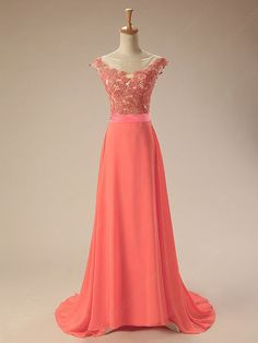 Coral wedding dress Long Chiffon Applique Bridesmaid Evening Dress Formal Occasion Party Prom Gown