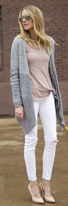 Love this outfit -- white jeans, nude heels and gray cardigan.