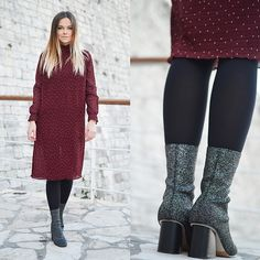 Get this look: http://lb.nu/look/8573865  More looks by Tamara Bellis: http://lb.nu/tamarabellis  Items in this look:  Zaful Polka Dot Dress, Yoins Boots, Calzedonia Tights   #elegant #romantic #street