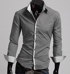 Men's Shirt with Stripped Inner Details