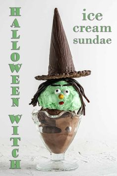 These Halloween Witch Ice Cream Sundaes are easy and fun to make with only a few basic ingredients. And, you only need about 10 minutes prep time. This is a fun Halloween activity to do with kids! #halloweendessert #halloweenrecipe #icecream #icecreamsundae
