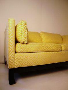 gorgeous yellow greek key upholstery