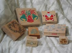 CHRISTMAS Rubber Ink Stamps Loose Set Of 7 1990s Used http://AJunkeeShoppe.Webstore.com
