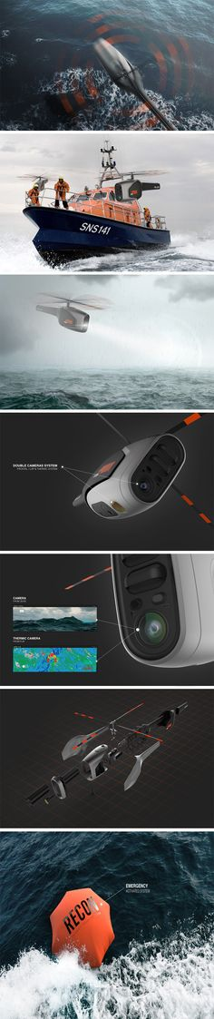 The Recon Drone for Parrot makes a bold attempt of being a rescue drone that works under all odds. Its design takes inspiration from a helicopter, allowing it to maneuver through any sort of weather. A front mounted camera allows the drone to perform a surveillance run on the surface of the ocean in regular as well as thermal imaging, and on spotting a survivor the drone deploys one of two emergency flotation devices.