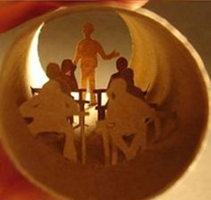 toilet paper roll art - kids hanging out