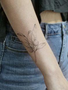 Line Tattoo Arm, Tattoo Shading, Fine Line Tattoos, Arm Tattoos, Tatoos, Olive Tattoo, Olive Tree Tattoos, Tree Branch Tattoo, Olive Branch Tattoo