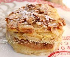 Dolce di pane raffermo e mele:ottimo a colazione e a merenda.La sua crosticina dorata e golosa e il piacevole sapore di mele e cannella conquista e delizia