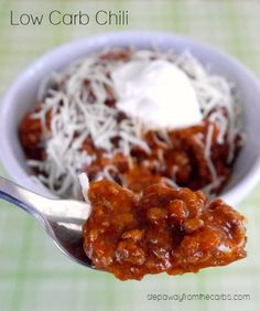 Low Carb Chili - a slow cooker recipe that is full of flavor (and no beans!)