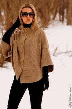 Beige knit cowl neck poncho with all brown outfit Knit Cowl, Crochet Poncho, Knitwear Fashion, Knit Fashion, Ladies Poncho, New Years Eve Outfits, Casual Outfits, Fashion Outfits, Vest Pattern
