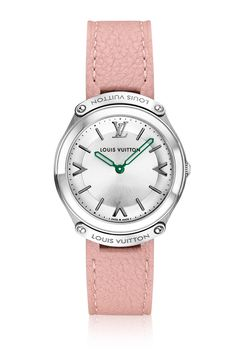 The LV Fifty Five collection is inspired by the lock of the legendary Louis Vuitton aluminum trunk. This feminine model is fitted with a ballet pink cashmere soft leather for a comfortable and sophisticated wearing.