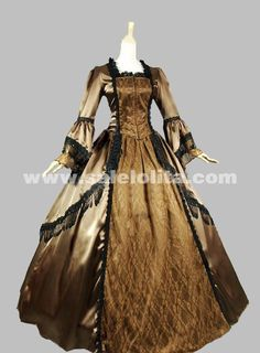 2016 New Noble Light Brown Long Flare Sleeves Lace Gothic Medieval Victorian Ball Gowns For Party