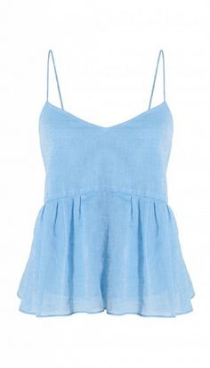 Tibi Summer Space Dyed Ruffle Cami // Blue top