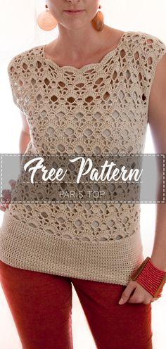 Paris Top – Pattern Free – Easy Crochet clothes for women summer tops Crochet Tunic, Crochet Clothes, Easy Crochet, Crochet Baby, Free Crochet, Top Pattern, Free Pattern, Crochet Designs, Crochet Patterns