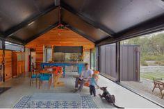Compressed cement sheet floor, melamine ceiling