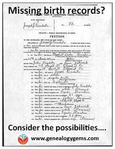 family history, a missing birth record for an ancestor can be a frustrating brick wall. Check out these strategies for finding the elusive record. Free Genealogy Sites, Genealogy Forms, Genealogy Research, Family Genealogy, Genealogy Chart, Lds Genealogy, Free Genealogy Records, Genealogy Humor, Family Tree Research
