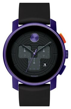 Movado 'Large Bold Chrono' Silicone Strap Watch, available at Cool Watches, Watches For Men, Wrist Watches, Mens Sale, Beautiful Watches, Swagg, Luxury Watches, Chronograph, Bracelet Watch