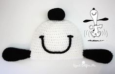 Happy dance Snoopy crochet hat by Repeat Crafter Me. So adorable!