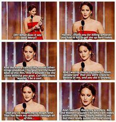 Jen's speach at the Golden Globe awards. Funny yet heart felt :D