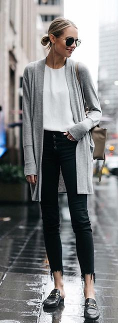 #spring #outfits woman in gray cardigan. Pic by @fashion_jackson