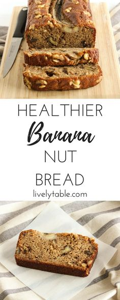 deliciously moist banana nut bread that's studded with walnuts and made healthier with greek yogurt and whole wheat flour is the perfect breakfast treat or snack. Banana Nut Bread Healthy, Banana Walnut Bread, Banana Bread Recipes, Fruit Bread, Baking Recipes, Snack Recipes, Dessert Recipes, Baking Ideas, Nut Recipes