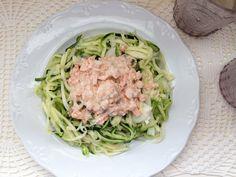 Espaguetis vegetales con salsa de salmón 0%
