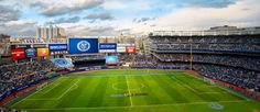 The New York Yankees will be sharing their valuable turf in the Bronx with New York City's new professional soccer team next year — at leas. New York City Fc, Professional Soccer, Major League Soccer, Yankee Stadium, New York Yankees, Baseball Field, Nyc, Football, Club